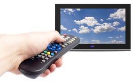 kontrollera den set tv:n för remoten Arkivfoto