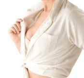 Kontrollera ditt bröst för att skydda sig yourself från cancer Arkivbilder