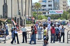 kontrollera egyptisk punkt s för medborgaredemonstrationer Arkivfoto
