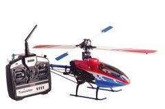kontrollera för radioremoten för helikoptern den model seten Fotografering för Bildbyråer
