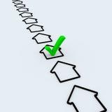 kontrollera fläcksymbolet för det gröna huset Arkivbild