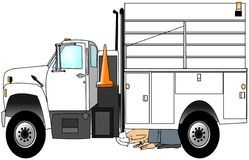 kontrollera hans lastbilarbetare Arkivfoton