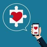 kontrollera hjärtaobjekt mer mycket min liknande portföljpusselserie Smart telefon i hand med fyndförälskelse inbunden vektor för Royaltyfri Foto