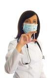 kontrollera injektionssprutakvinnan Arkivbild