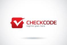 Kontrollera koden Logo Template Design Vector, emblemet, designbegreppet, det idérika symbolet, symbol Arkivbilder