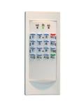kontrollera plastic säkerhetssäkerhet för den home panelen Arkivbilder
