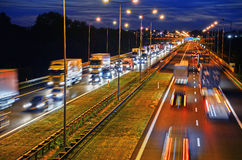 Kontrollera-tillträde huvudväg i Poznan, Polen royaltyfri fotografi
