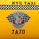 Kontrolleur-Taxi produzierte durch Checker Motors Corporation in New York Stockfoto