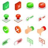 Kontrollfläck ja och ingen symbolsuppsättning Arkivfoton