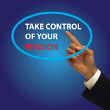 Kontrollieren Sie Ihre Pension Stockfotos