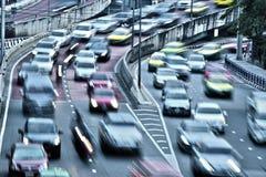Kontrolliert-Zugangslandstraße in Bangkok während der Hauptverkehrszeit stockfotos