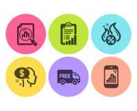 Kontrollista-, Analyticsgraf och lönsymbolsuppsättning Varmt lån, fri leverans och graftelefontecken vektor stock illustrationer