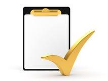 Kontrollista och Clipboard med vit bakgrund Royaltyfria Bilder