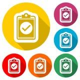Kontrollistasymbol, godkänd kontrollistasymbolsform, färgsymbol med lång skugga Royaltyfria Foton