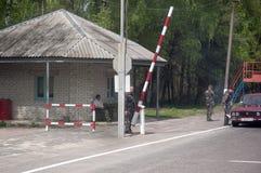 Kontrollpunkt am Eingang zur Tschornobyl-Ausschluss-Zone Stockbilder