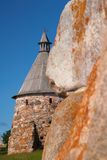 Kontrolltürme des Solovetsky Klosters Stockbilder