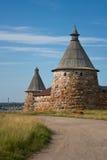 Kontrolltürme des Solovetsky Klosters, Russland stockbilder