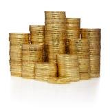 Kontrolltürme gebildet aus Goldmünzen heraus Stockfoto