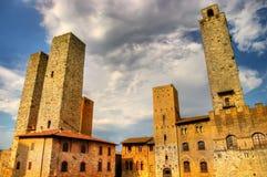 Kontrolltürme San-Gimignano stockfoto