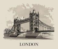 Kontrollturm-Brücke, London, Großbritannien lizenzfreie abbildung