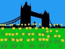Kontrollturm-Brücke London im Frühjahr lizenzfreie abbildung
