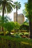 Kontrollturm in den Alcazargärten Stockbild