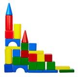 Kontrollturm der Farbenspielzeugblöcke Stockbilder