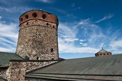 Kontrollturm der Olavinlinna Festung Stockbild