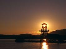 Kontrollturm am Sonnenuntergang Stockfoto