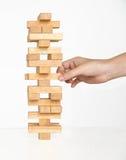 Kontrollturm-Spiel mit einem hölzernen Lizenzfreies Stockfoto