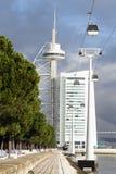 Kontrollturm Vasco da Gama, Lissabon, Portugal Lizenzfreie Stockfotos