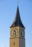 Kontrollturm von Str. Peter in Zürich Stockbild