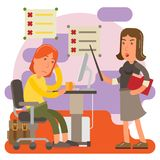 Kontrolnej pokraki kobieta przy pracy biurem Zdjęcia Stock