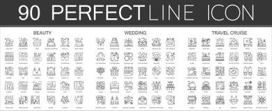 90 konturów mini pojęcia infographic symbol ikony piękno, ślub, podróż rejs royalty ilustracja