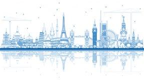 Konturów Sławni punkty zwrotni w Europa z odbiciami Obraz Royalty Free
