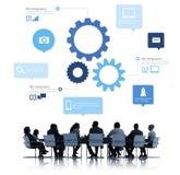 Kontur av affärsfolk som möter Infographic Fotografering för Bildbyråer