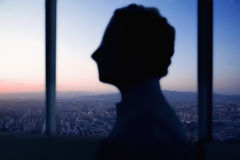 Kontur av affärsmannen med solnedgång och cityscape bak honom royaltyfri fotografi