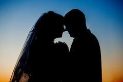 Kontur av brudgummen och bruden på solnedgången Arkivfoton