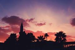 Kontur av Buyuk Cami Mosque och palmträd mot färgrik himmel på solnedgången Arkivbilder