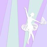 Kontur av dansflickan med fjärilen Royaltyfria Foton