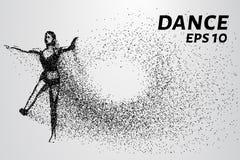 Kontur av danspartiklar Dansen består av små cirklar också vektor för coreldrawillustration Royaltyfri Fotografi