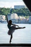 Kontur av den behagfulla ballerina i den vita ballerinakjolen Arkivbilder