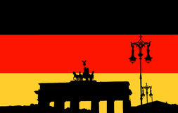 Kontur av den Brandenburg porten Arkivfoton
