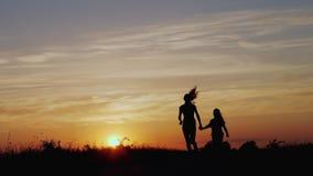 Kontur av den glade systern på solnedgången stock video