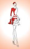 Kontur av den härliga kvinnan i den röda klänningen och basker - vektorillustration Royaltyfri Foto