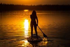 Kontur av den härliga unga flickan på SUP i den sceniska gula solnedgången på sjön Velke Darko, Zdar nad Sazovou, Tjeckien royaltyfri bild