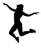 Kontur av den kvinnadansen och banhoppningen på vit bakgrund Arkivbilder