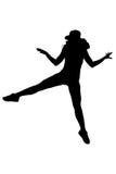 Kontur av den kvinnadansen och banhoppningen på vit bakgrund Royaltyfria Bilder