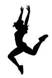 Kontur av den kvinnadansen och banhoppningen på vit bakgrund Arkivfoto