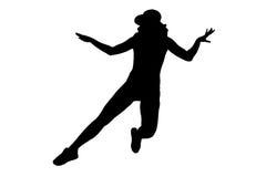 Kontur av den kvinnadansen och banhoppningen på vit bakgrund Arkivbild